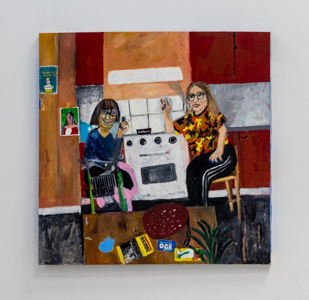 Med Eivor under fläkten (With Eivor under the range) , Oil and Acrylics on canvas, 112 x 99, 2019